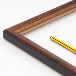 Marco madera nogal filo dorado