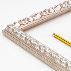 Marco madera labrada color plata vieja