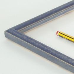 Marco madera peque azul decapé